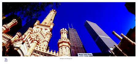 Water Tower Place and skyline Chicago