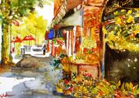 Scarsdale Florist, Watercolor Painting Art