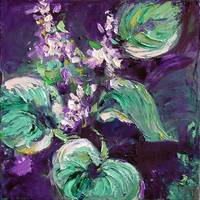 Hostas Oil Painting by Ginette Callaway