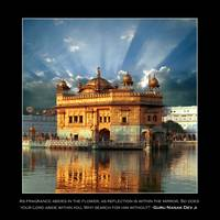 Golden Temple Sunset - With Quote