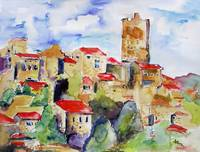 Provence Hillside Watercolor by Ginette Callaway