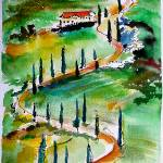 """Tuscany Italy Landscape Winding Roads Watercolor"" by GinetteCallaway"