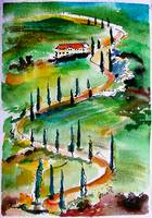Tuscany Italy Landscape Winding Roads Watercolor