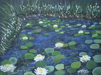 lilypads impressionistic flower oil painting