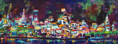 Amalfi Night Panoramic painting by Ginette Callawa