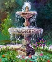 Fountain In French Garden Painting by Ginette