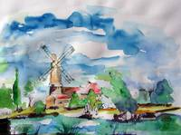 Windmill Waterclor by Ginette Callaway