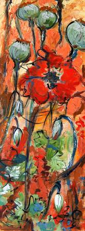 Red Poppy Flowers Impressionist Oil Painting