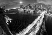 Brooklyn Bridge Fisheye view down cable, B&W