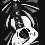 """dancing guitar (black and white)"" by alansmithart"
