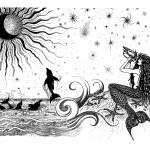 """Mermaid & Dolphins ""Lunar Ovation"" Ink Drawing"" by savanna"