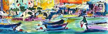 Portofino Boats Watercolor by Ginette Callaway