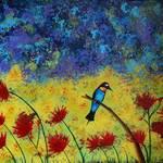 """Bird in Flowers"" by morninglori"