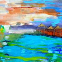 Huts along the River, Borneo Art Prints & Posters by Fiona Henzie