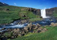 Waterfall and stream,Iceland