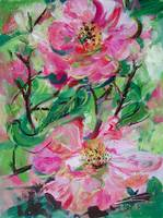 Pink Roses Painting by Ginette Callaway