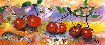 Cherries & Bees Watercolor by Ginette