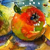 """Apples ; Bees Watercolor painting by Ginette"" by GinetteCallaway"