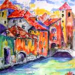 """Annecy Canal France Watercolor by Ginette"" by GinetteCallaway"