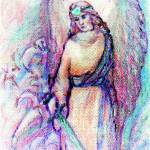"""""""Angel with sword and lilies"""" by Linandara"""