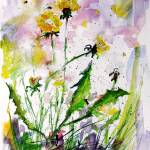 """Spring Has Arrived Dandelions & Bees Watercolor by"" by GinetteCallaway"