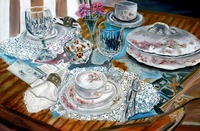 oil still life dinnerware set painting