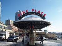 Pike Place Market Sign with Snow