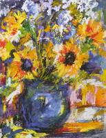 Sunflowers & Iris in Blue Pottery by Ginette Calla