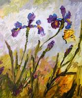 Blue Iris & Butterfly Oil Painting by Ginette