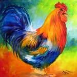 """RED ROOSTER by MARCIA BALDWIN"" by MBaldwinFineArt2006"