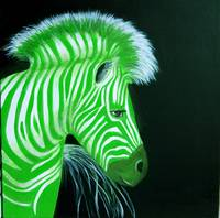 Zebra Green Pop Art