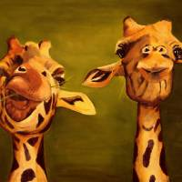 """giraffe painting 2 buddies"" by Spangles44"