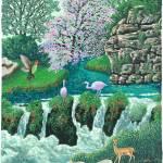 """0853 Pink Flamingoes"" by Nachshonart"