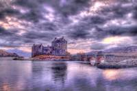 Eilean Donan Castle in Scotland at Sunset