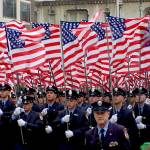 """Flags and NYC Firemen, Saint Patrick"