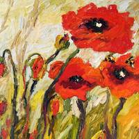 Red Poppies Square Oil Painting by Ginette
