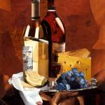 """Wine and Cheese"" by marjoriepesekfineart"