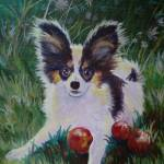 """""""Papillon with Crabapples"""" by foxbrush"""
