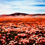 """Antelope Valley Poppy Fields Watercolor Panorama"" by johncorney"