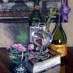 """Wine Bottles, Book and Glasses"" by 88heather"