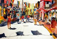 Commercial Street, Provincetown art Watercolor