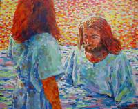 John is baptizing Jesus with water