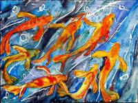 Koi Fantasy, Watercolor Abstract Art