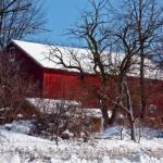 """Snowy Red Barn"" by Rudderow"