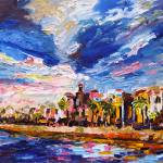 """Charleston South Carolina Battery Oil Painting by"" by GinetteCallaway"