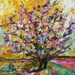"""Tulip Magnolia Tree Impressionist Oil Painting by"" by GinetteCallaway"
