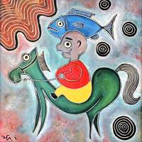 ‏‏little boy horse and a fish
