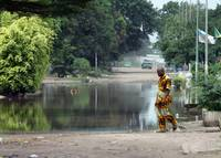 The rainy streets in Brazzaville