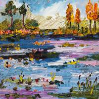 Okefenokee Pond Oil Painting by Ginette Callaway