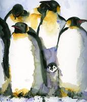 Just Chillin, Watercolor Painting of Penguins art